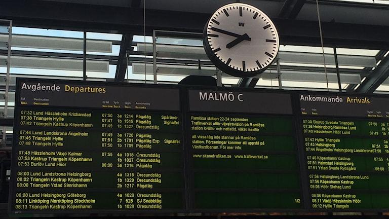 Avgångstavlan på Malmö C visar spårändringar och signalfel
