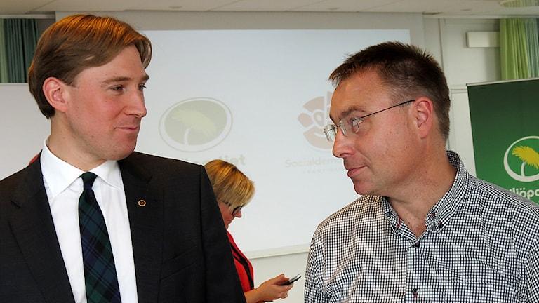 Henrik Fritzon (S) och Anders Åkesson (MP) ska styra Region Skåne på egen hand. Foto: Petra Haupt/Sveriges Radio