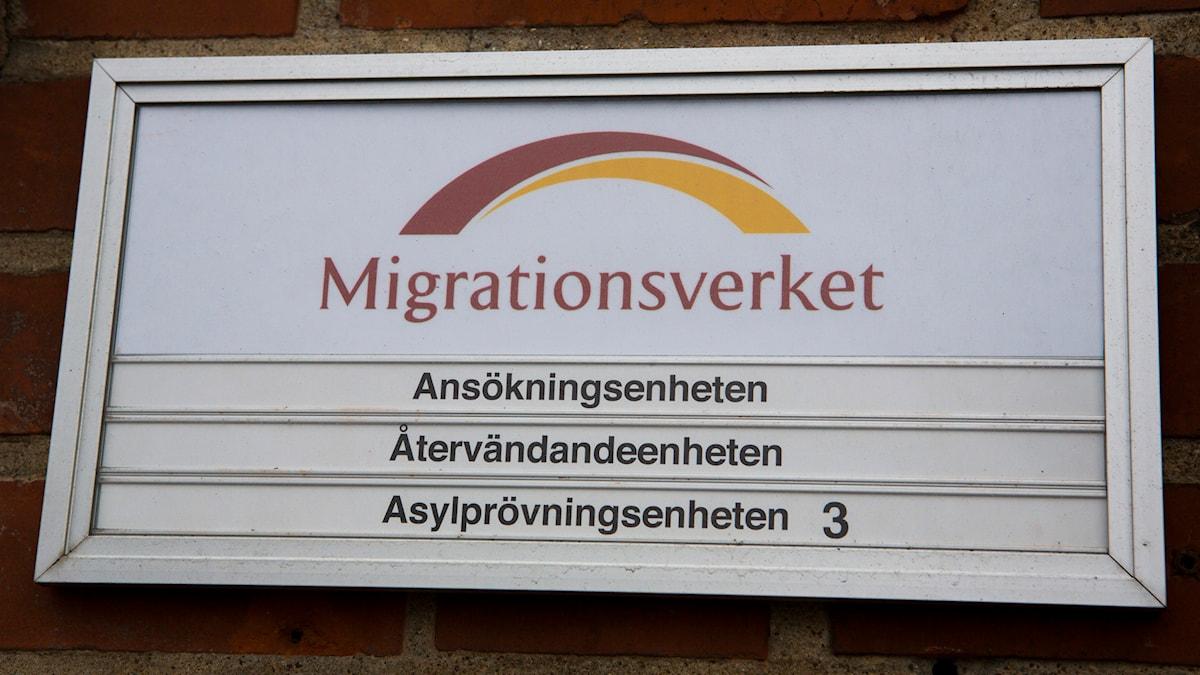 Skylt på Migrationsverket i Malmö. Foto: Drago Prvulovic/TT