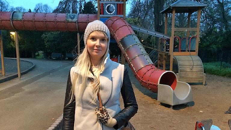 Iris Valgeirsdotter, förskollärare i Malmö som kämpar för betalda arbetskläder. Foto: Madeleine Fritsch-Lärka/Sveriges Radio