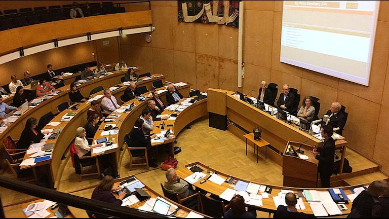 Omröstning i stadshalleni Lund. Foto: Alexander Zeilon Lund/Sveriges Radio