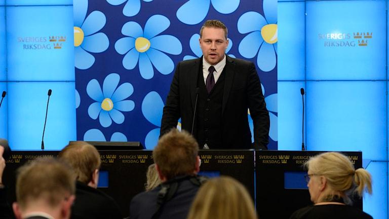 Sverigedemokraternas vikarierande partiledare Mattias Karlsson. Foto: Pontus Lundahl/TT