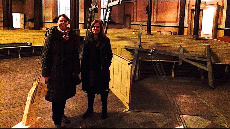 Alice Öberg, Länsstyrelsen och Maria Hall Persson, fastighetsägarna. Foto: Madeleine Fritsch-Lärka/Sveriges Radio