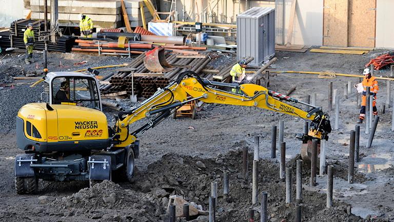Bostadsbygge pågår. Foto: Anders Wiklund/TT