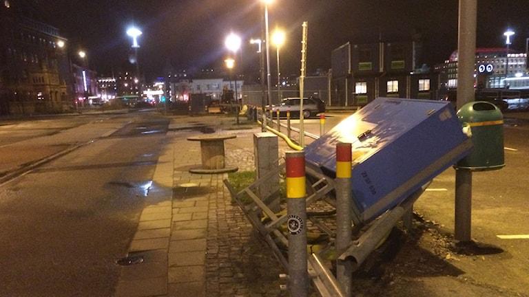 Ett elskåp har vält i Malmö