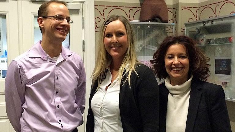 Förstelärarna Johan van der Levin, Maria Glawe och Gülsen Usein på Söderslättsgymnasiet i Trelleborg. Foto: Anna Bubenko/Sveriges Radio