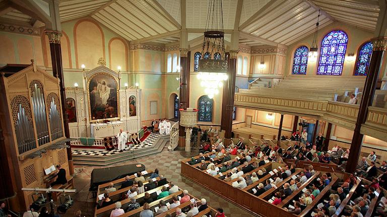 Caroli kyrka i Malmö avsakraliserades vid en avlysningsgudstjänst ledd av biskop Antje Jackelén i augusti 2010. Foto: Stig-Åke Jönsson/TT
