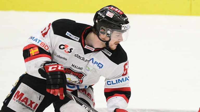 Nicklas Jadeland, hockeyspelare i Malmö Redhawks. Foto: Pavel Koubek/TT