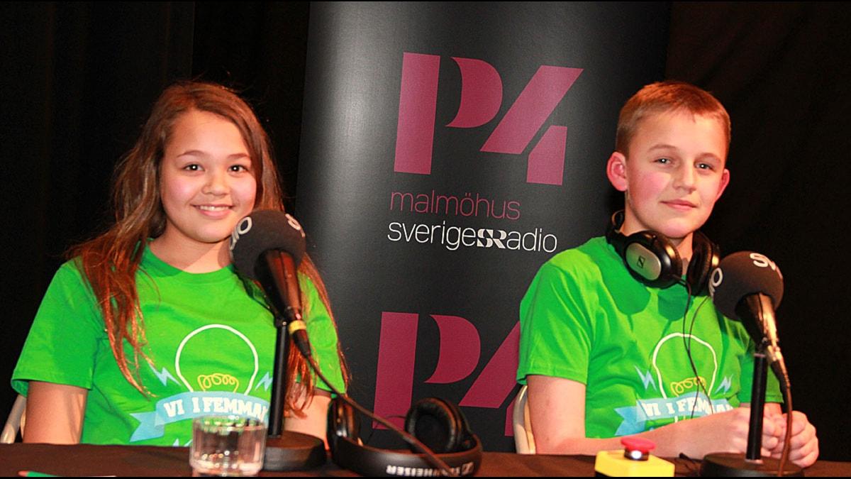 Husieskolan 5B, Malmö. Elma Enhav och Markus Anderberg. Foto: Lars Ekman/Sveriges Radio