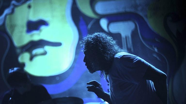 Led Zeppelins Robert Plant under en konsert i Singapore nyligen