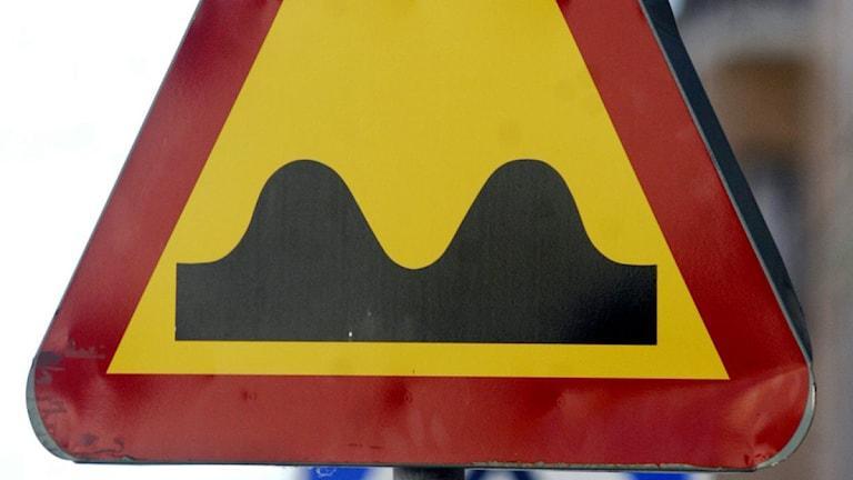 Skylt som varnar för väggupp. Foto: Mats Andersson/TT