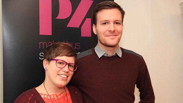Matidla Nilsson och Albin Junhede är projketledare för Lunds Pride. Foto: Sandra Martinsson/Sveriges Radio