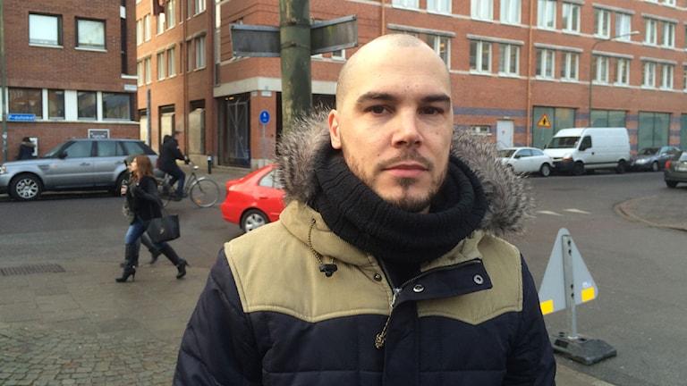 """Nicholas Lunabba från organisationen """"Hela Malmö""""."""