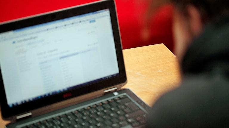 En ung man letar jobb via Arbetsförmedlingens platsbank. Foto: Karin Genrup/Sveriges Radio