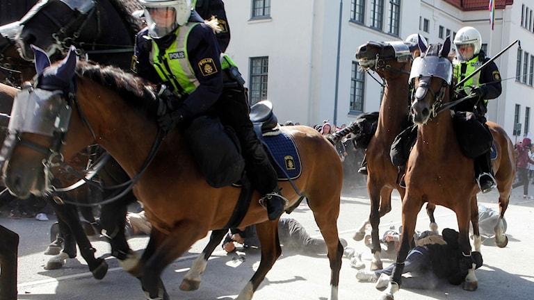Polishästar red in bland demonstranter vid Svenskarnas partis valmöte i Limhamn. Foto: Drago Prvulovic/TT
