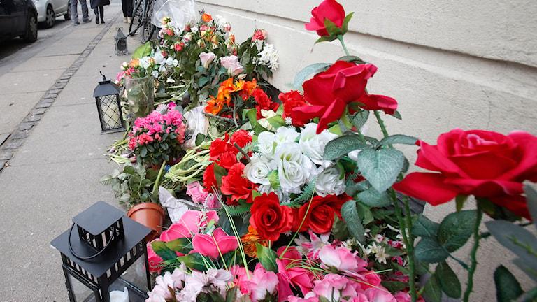 Blommor på platsen där attentatsmannen i Köpenhamn sköts. Foto: Michael Probst/TT
