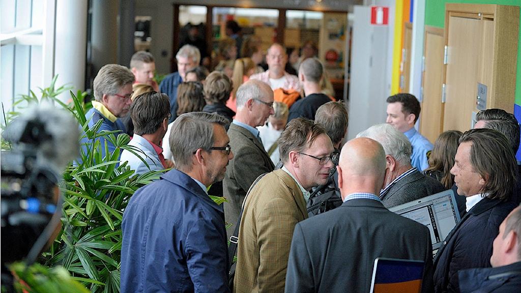 Rättegången i Helsingborgs tingsrätt mot den 28-årige Helsingborgssupporter som står åtalad för misshandel och vållande till annans död. Foto: Björn Lindgren/TT