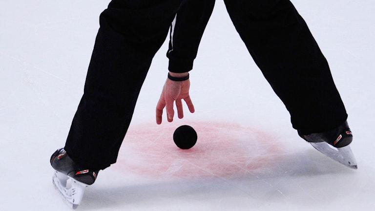 Hockeydomare med puck. Foto: Janerik Henriksson/TT
