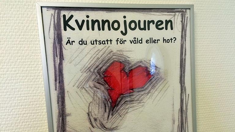 Skylt från kvinnojouren i Lomma Foto: Dimitri Lennartsson/Sveriges Radio