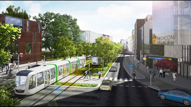 Visionsbild för Sölvegatan. Bild: Metro arkitekter och Lunds kommun.