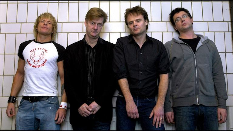 Rockgruppen Wilmer X. Fr v Sticky Bomb, Jalle Lorensson, Nisse Hellberg och Tomas Holst. Foto: Janerik Henriksson /TT