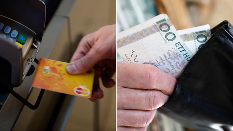 Till vänster: En man gör ett kortköp i en kortterminal. Till höger: En man tar upp ett par hundralappar ur en plånbok. Foto: TT