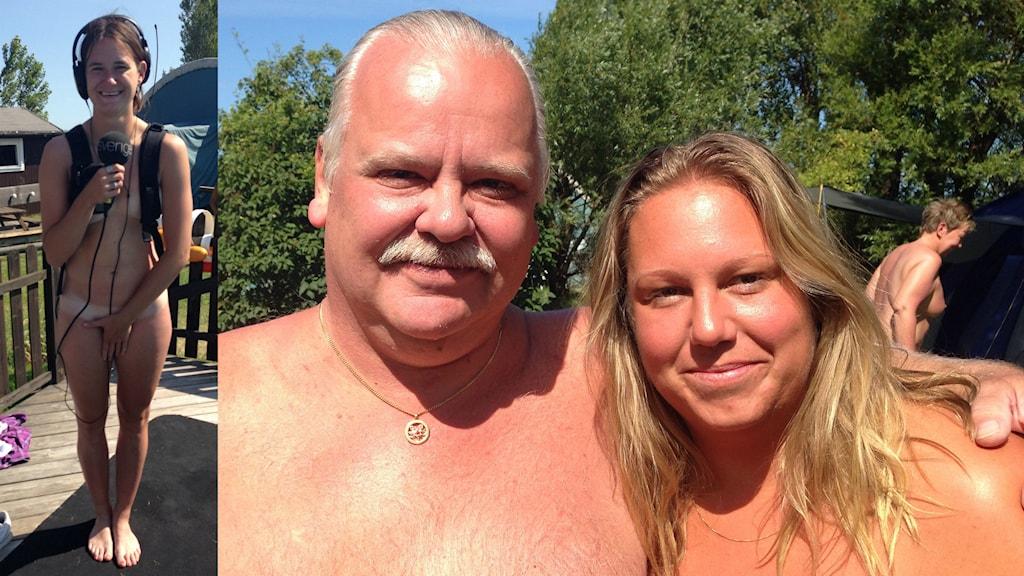 Jan Andersson ordförande i naturistföreningen Svanrevet och Malin Birgersson besökare på campingen. (Infälld vår reporter Kajsa Nordmark).