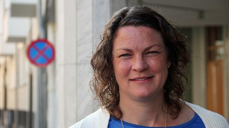 Caroline Jönsson, f d landslagsmålvakt som blivit internationell fackbas för kvinnliga fotbollsspelare. Foto: Hans Zillén/Sveriges Radio