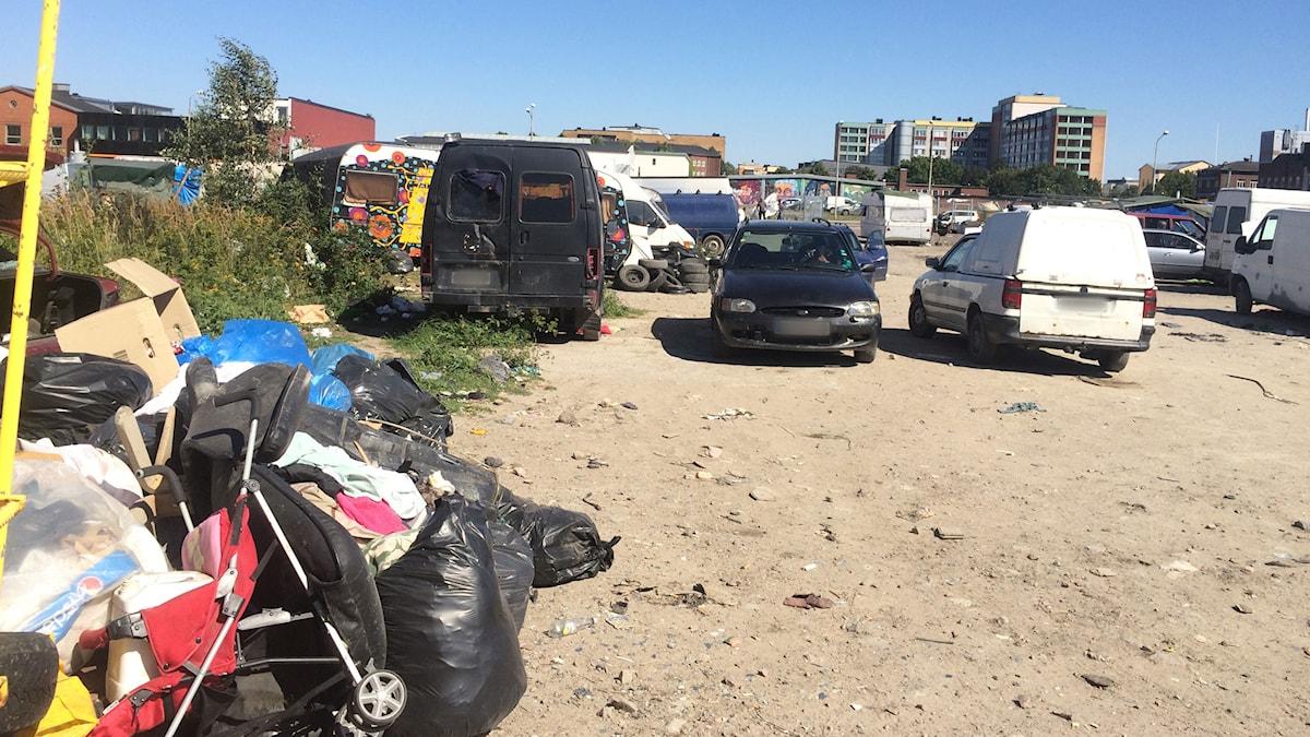 EU-migranternas läger på Norra Sorgenfri i Malmö. Foto: Dimitri Lennartsson/Sveriges Radio