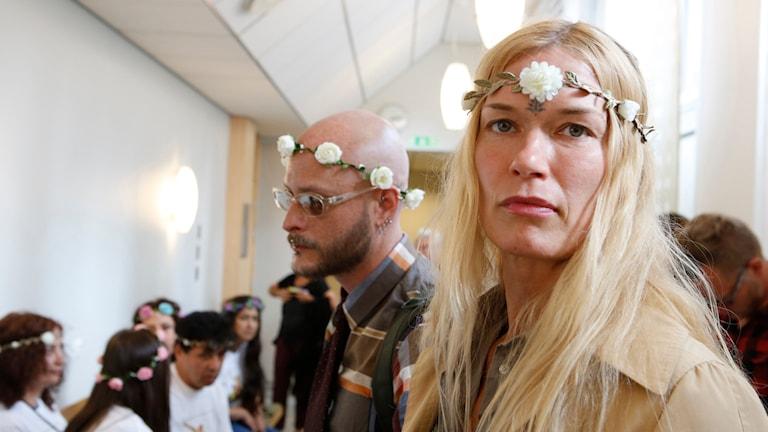 Femenaktivisten Jenny Wenhammar under rättegången i Malmö tingsrätt. Foto: Drago Prvulovic/TT