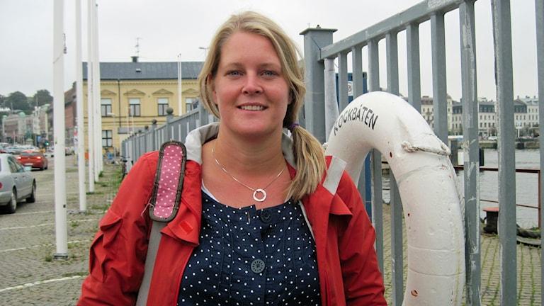 Anette Fröberg, projektledare för ombyggnaden av Ångfärjetomten i Helsingborg. Foto: Gunilla Nordström/Sveriges Radio