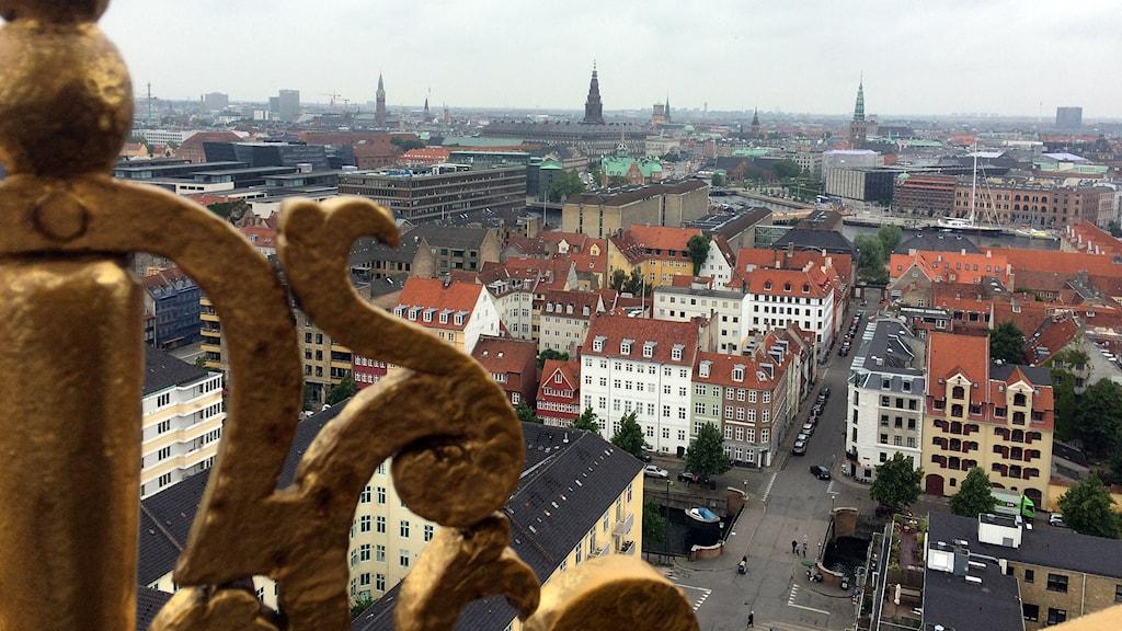 Köpenhamn från toppen av Vor Frelsers Kirke på Christianshavn. Foto: Hans Zillén/Sveriges Radio