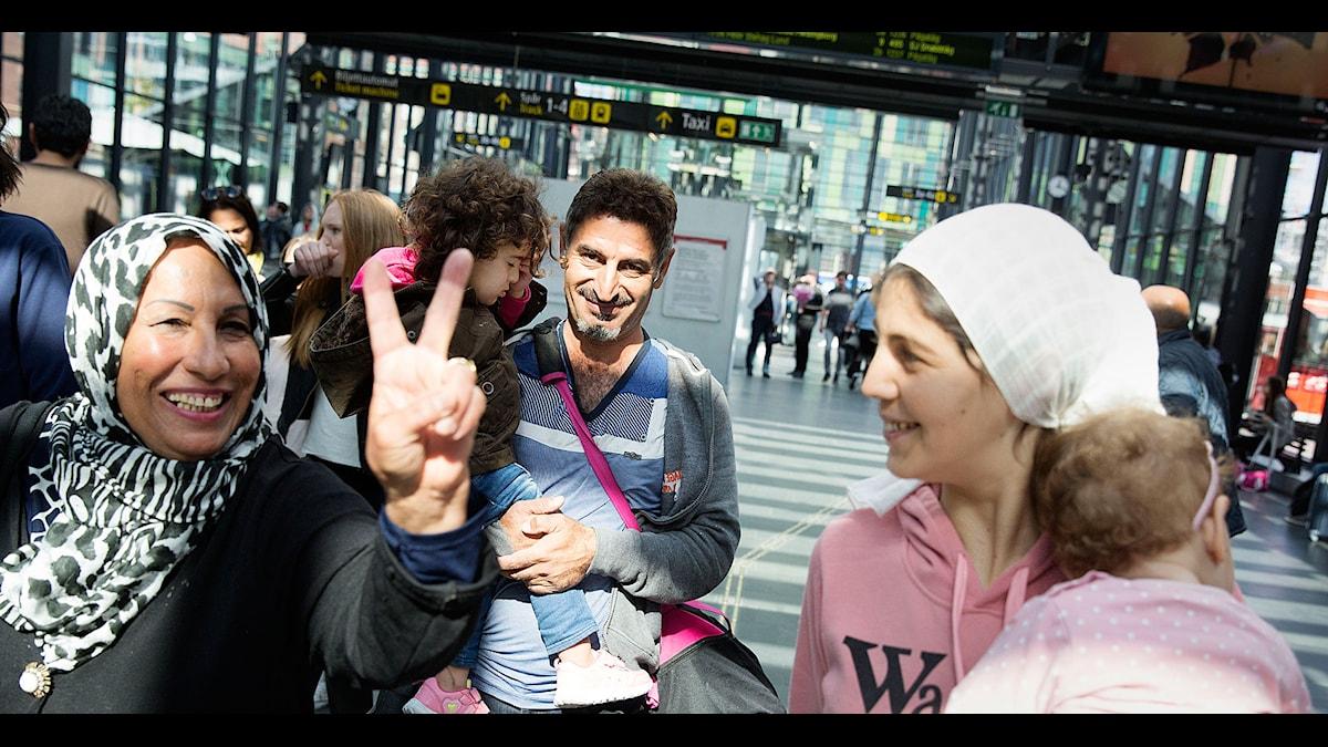Flyktingar på Malmö central. Foto: Ola Torkelsson/TT