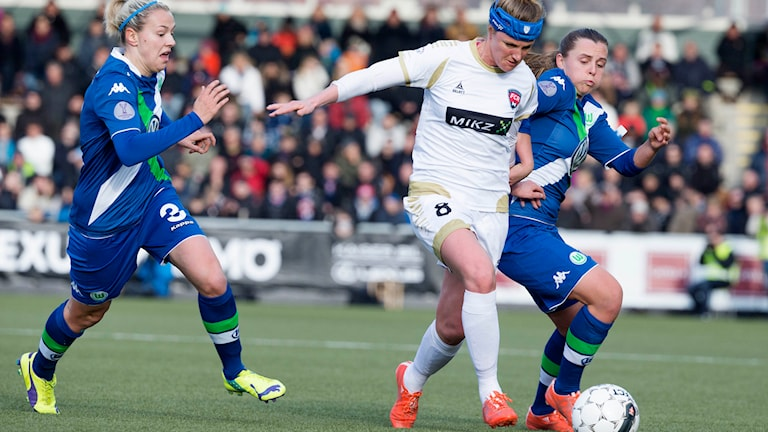 FC Rosengårds Kirsten van der Ven i aktion i Champions Leaguematchen mot Wolfsburg 2015. Foto: Daniel Nilsson/TT