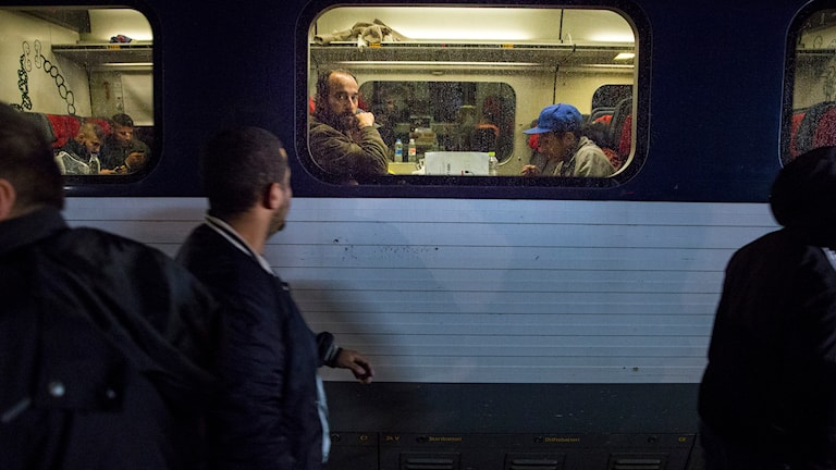 Stoppat tåg i danska Rödby. Foto: Tore Meek/TT