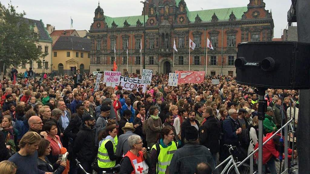 Manifestationen Regufees Welcome i Malmö. Foto: Anna Bubenko/Sveriges Radio.