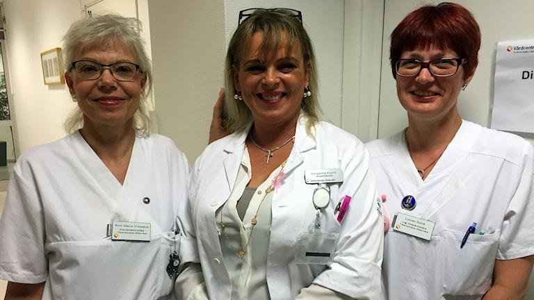 Personal från Södervärns vårdcentral: Britt-Marie Svensson, distriktssköterska Margareta Koerth, enhetschef Louise Björk, sjuksköterska