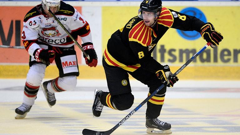 Malmös Kent McDonell jagar Brynäs Mathias Porseland i SHL-premiären. Foto: Pontus Lundahl/TT