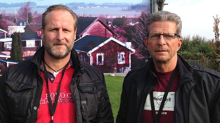 Polisinspektörerna Håkan Ask och Anders Enqvist. Foto: Lill Eriksson/Sveriges Radio