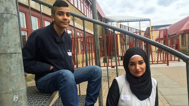 Ahmed Obaid och Mariam Higaz är båda elever på Värner Rydénskolan i Malmö. Foto: Dimitri Lennartsson/Sveriges Radio