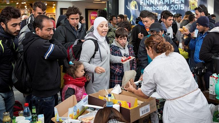 Flyktingar på Malmö Centralstation. Foto: Ola Torkelsson/TT