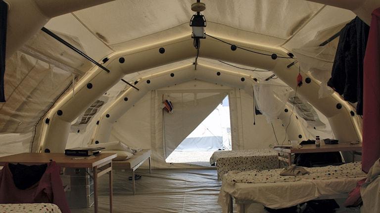 Exempel på ett boendetält som MSB använde vid ett basläger under en tidigare insats. Foto: MSB.