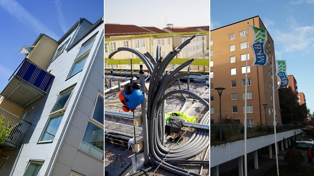 Bilder av olika bostadsområden och bostadsbyggen. Foto: Bonny Håkansson och Drago Prvulovic/TT