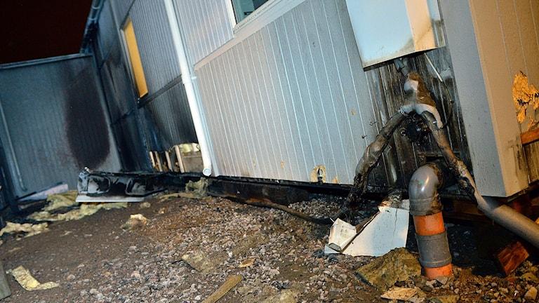 En barack i Arlöv i Skåne som var ämnad för ensamkommande flyktingbarn brann i oktober. Foto: Johan Nilsson/TT