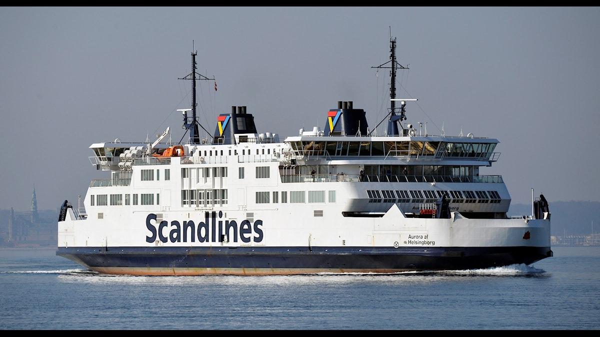 Scandlines passagerarfärja M/S Aurora af Helsingborg utanför hamnen i Helsingborg med destination Helsingör. Foto: Johan Nilsson/TT