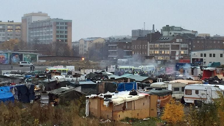 Das Lager von Sorgenfri vor der Räumung Foto: Anton Kalm/Sveriges Radio