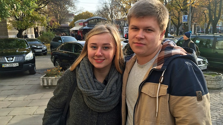 Oksana Khabrovska och Oleg Bojzun från Lviv i Ukraina. Foto: Dimitri Lennartsson/Sveriges Radio