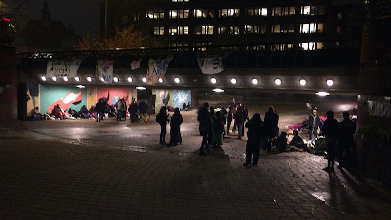 EU-migranter vid Stadshuset Malmö. Foto: Madeleine Fritsch-Lärka/Sveriges Radio