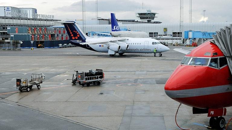 En RJ-85 från SN Brussels startar upp motorerna med ett av SAS Airbus 319 flygplan i bakgrunden och nosen på en Sterling 737-500 i förgrunden vid terminal 3 på Kastrups flygplats. Foto: Johan Nilsson/TT