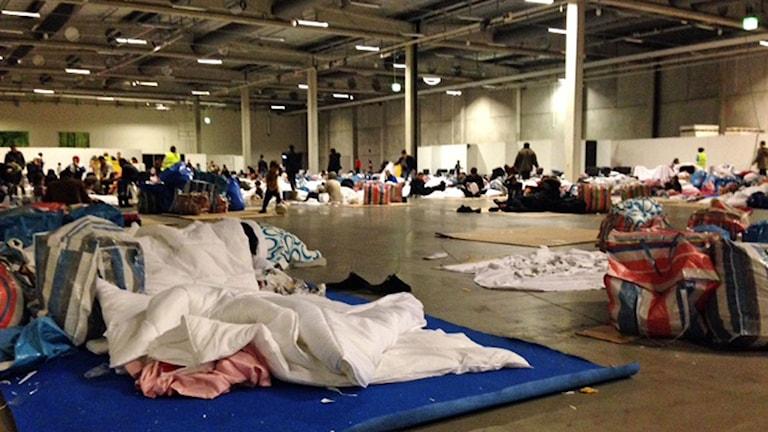 Sovplatser på Malmömässan. Foto: Josefin Modig/SR